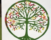 SALE - pair of fall tree cards and envelopes