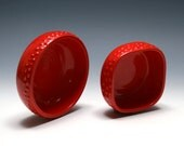 Red Bowls with Raised Dots - Set of Two