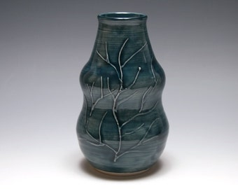 Curvy Branch Vase in Dark Blue