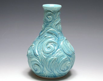 Carved Spiral Vase in Tahitian Blue