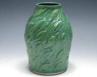 Carved Leaf Vase in Jade Green