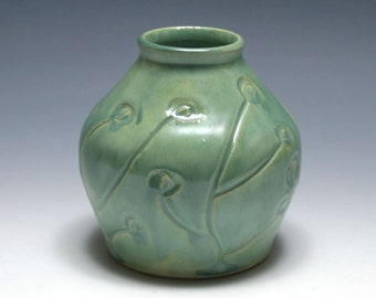 Green Vase with Swirl Flowers