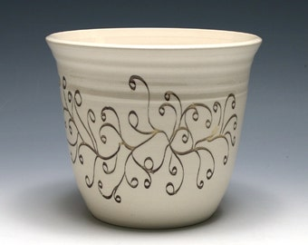 White Vase with Swirling Vine Decal