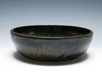 Black Pottery Bowl with Branch Carving