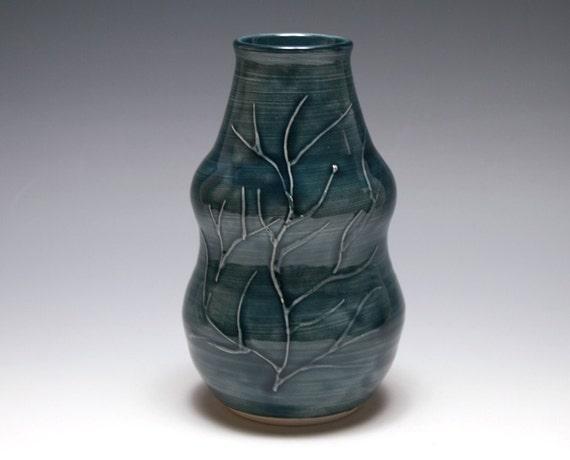 Curvy Branch Vase in Dark Blue