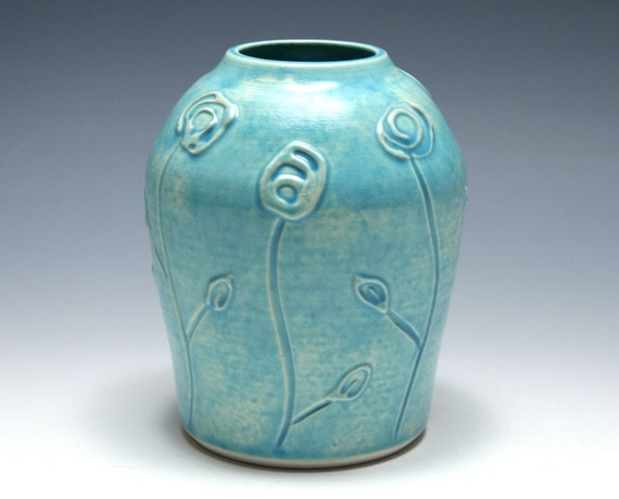 Swirl Flower Vase in Tahitian Blue