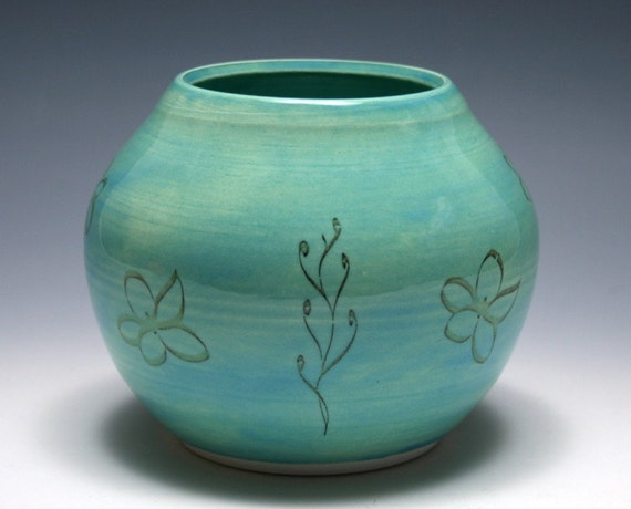 Pale Turquoise Vase with Sepia Flowers