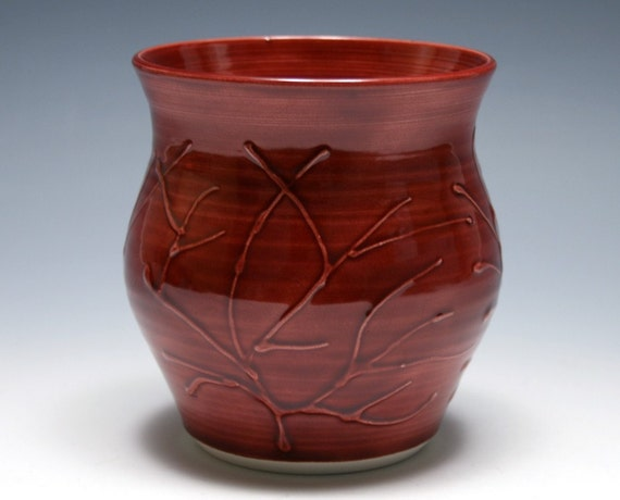 Small Rhubarb Red Branch Vase