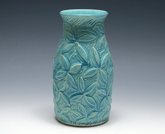 Reserved -  Blue Vase with Carved Flowers