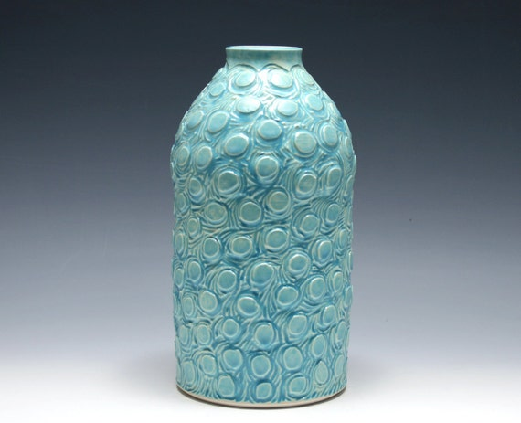Large Tahitian Blue Vase with Circle Carving