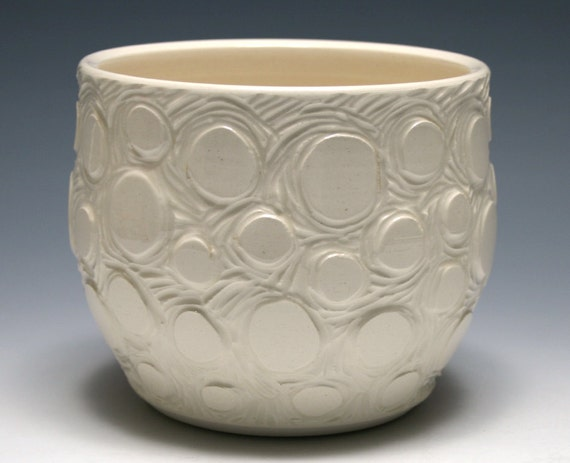 White Bowl with Carved Circle Design