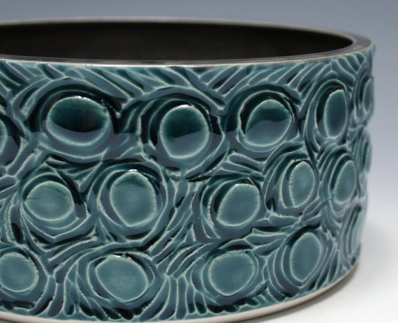 Teal and Charcoal Gray Carved Pottery Bowl