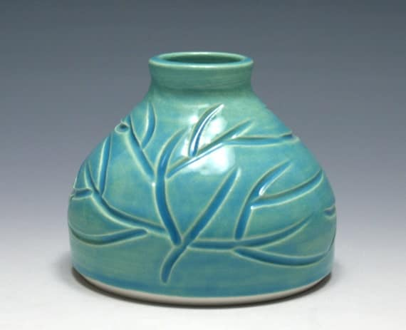 Small Pale Turquoise Vase with Branch Carving