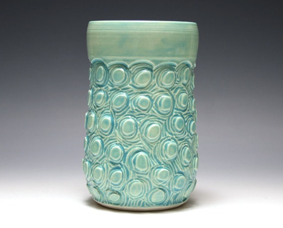 Turquoise Vase with Circle Carving