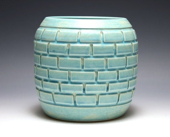 Carved Brick Pot in Tahitian Blue