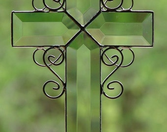 Stained Glass Beveled Cross