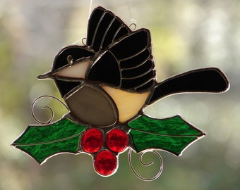 Stained Glass Chickadee