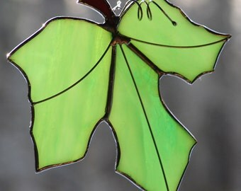 Stained Glass Green Maple Leaf