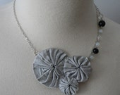 SUMMER SALE sophia - silk yo-yo  and beaded necklace
