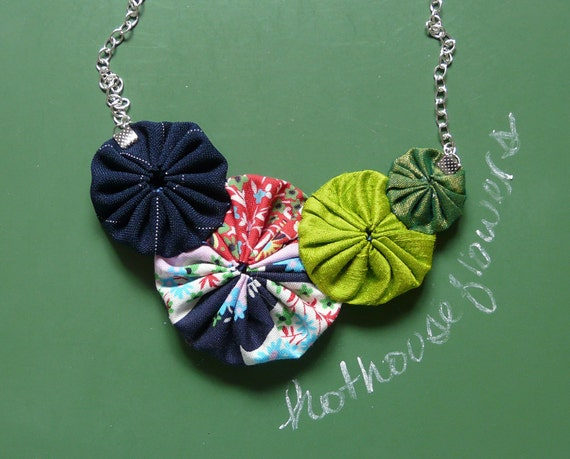 hothouse flowers v. 2 - cotton and silk yo-yo necklace