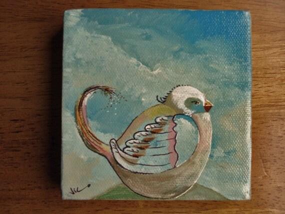 whimsical acrylic painting of little bird