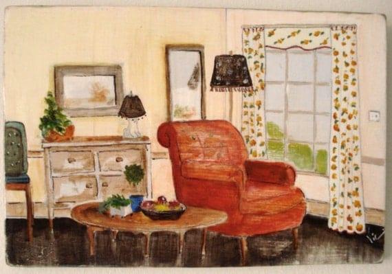 Original acrylic painting of living room on masonite