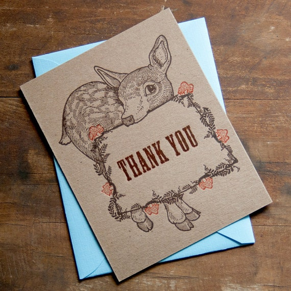 Letterpress Thank You Cards - Thank You Notes - Baby Thank You Card - Baby Thank Yous - Sweet Fawn Card Set