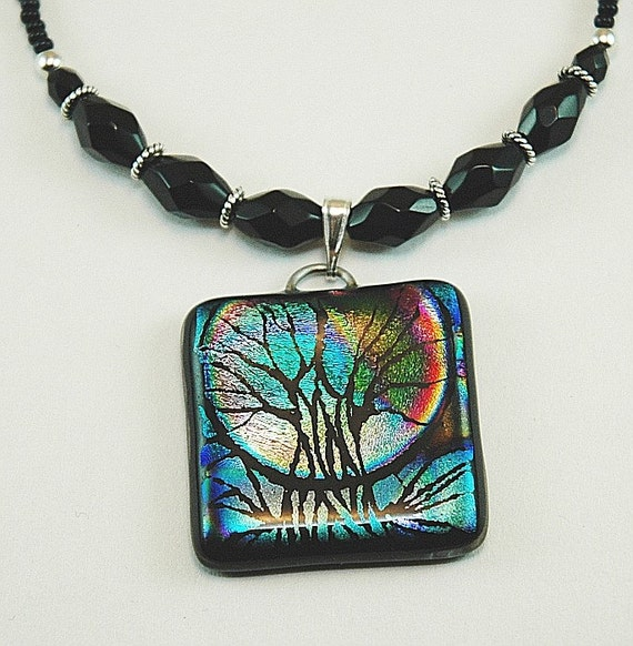 Moon Solace - Full Moon Tree of Life Dichroic Necklace - Witchery