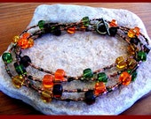 Czech Pressed Glass Long Autumn Necklace