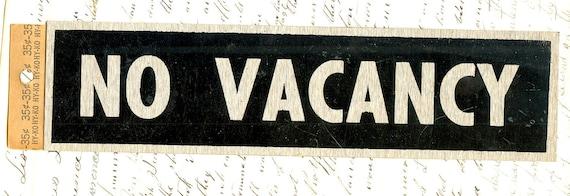 Vintage Metal Sign No Vacancy