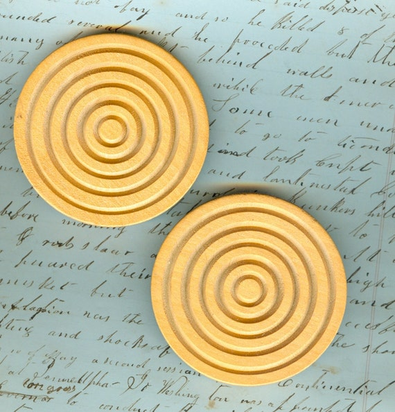 Two HUGE ... Two and  Half Inch Giant Wood Buttons with Metal Loop Shanks