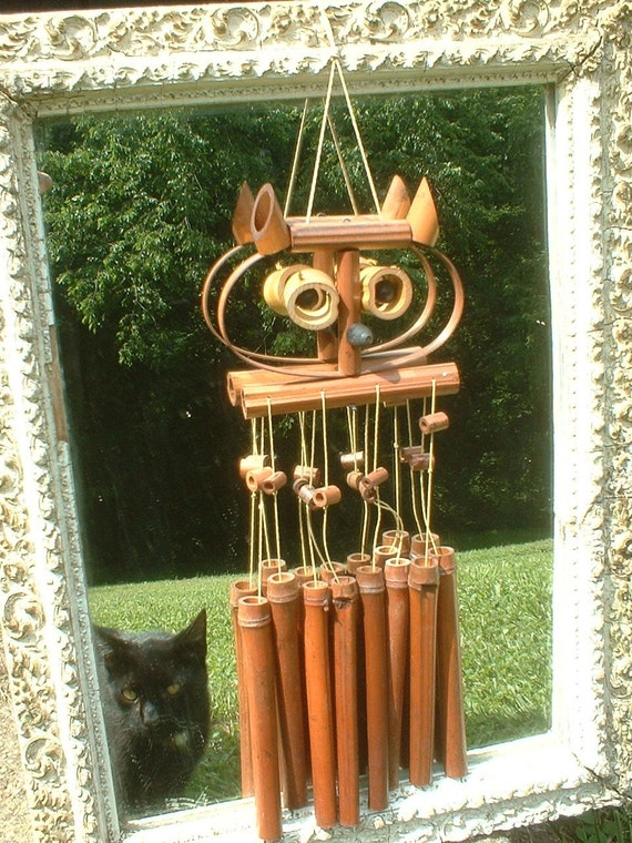 bamboo wind chimes vintage bamboo owl wind chime 10657
