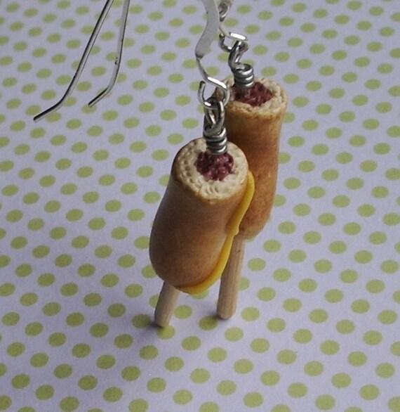 Corn Dog Earrings - Sterling Silver