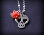 Calavera Necklace, with Heart Eyes and Vintage Rose