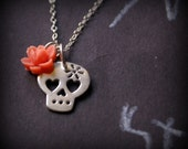Calavera Necklace, with Flower and Heart Eyes, Pink Rose