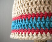 Crochet Champagne Colored Beanie with Honeysuckle and Aqua Stripes for 1-6 months old