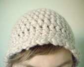 Crochet Hat - Chunky Wool Beanie in Oatmeal with Scallopped Edging - Chunky Cloche for Baby / Toddler / Boy / Girl / Man / Woman