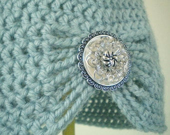 Placid Blue Flapper Style Cloche Hat - Design your own hat with colors and brooches - Winter Hats for Women and Baby Girls