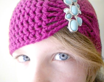Fuschia Flapper Style Cloche Hat - Design your own hat with colors and brooches - Winter Hats for Women and Baby Girls