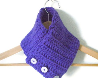 Half Price and Ready to Ship! Crochet Neckwarmer - Double Layer, Adjustable Scarflette in Rich Blue Violet - Cozy and Chunky Crochet Cowl