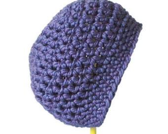 Crochet Slouchy Beanie in Indigo Purple - crochet wool beret for women - slouch hat for men
