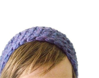 Chunky Wool Slouchy Beanie in Indigo Purple with Sapphire Blue Accents - Crochet Beret for Baby / Toddler / Boy / Girl / Man / Woman