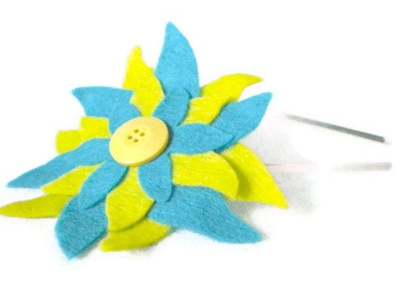 Upcycled Multilayer Felt Flower Headband in Lime Green and Blue with Yellow Button Center with Metal Headband