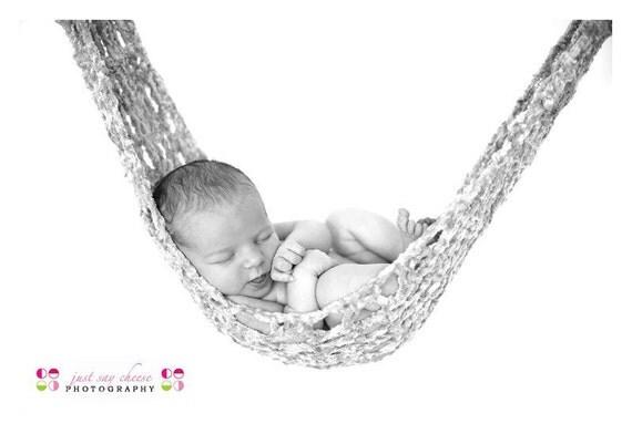 Newborn Baby Crochet Hammock Sling Photography Prop Photo Shoot Beige Chenille