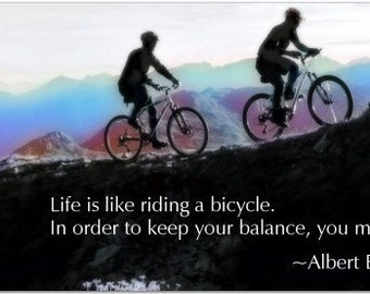 Life Is Like A Bicycle - Albert Einstein - Inspiring 8 inch Magnet #2777