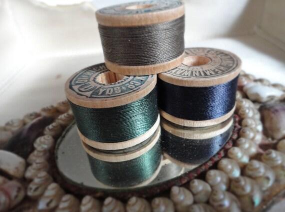Antique Sewing Silks Threads Set of 3 Spools - Richardson and Brainerd Heminway Brands