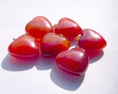 Carnelian Puffed Heart gemstone Pendants with bail