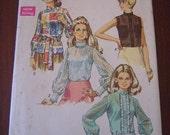 Vintage 70s Misses Blouse Pattern Simplicity 8594 sz 16 B 38