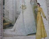 Vintage 1970s Vogue Bridal Design Pattern for a Bridal Dress, Slip and Veil, Pattern 1488 sz 12