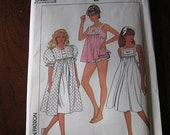 Vintage 80s Misses Nightgown Robe and Baby Doll Pajamas Pattern sz SM UNCUT